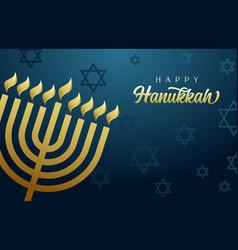 happy hanukkah golden menorah and david stars vector image