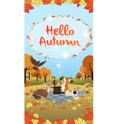 hello autumn season greeting long version vector image