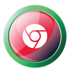 icon a red and green google chrome logo button vector image