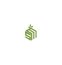 Initials letter s m diamond with leaf logo design vector