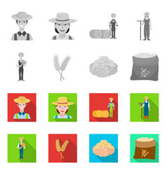 Isolated object farm and arable sign set vector