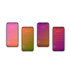 Isolated realistic colorful set cell phones vector