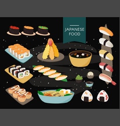 Japanese food collection black background vector