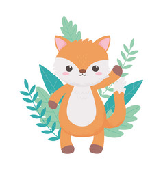little cute fox foliage nature cartoon animals vector image