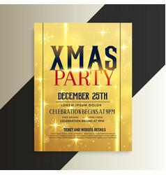 luxury golden christmas flyer design template vector image