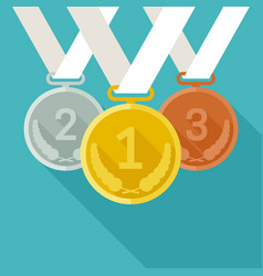 Medals from gold silver and bronze vector