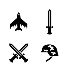 Military weapons simple related icons vector