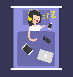New technologies addiction young girl sleeping vector