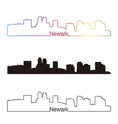 Newark skyline linear style with rainbow vector image
