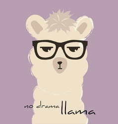 No drama llama cute fashion lama quote vector