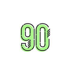Number 90 template design design for anniversary vector