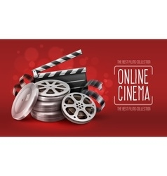 Online cinema with film tape vector