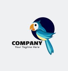 Parrot at circle hole logo design inspiration vector