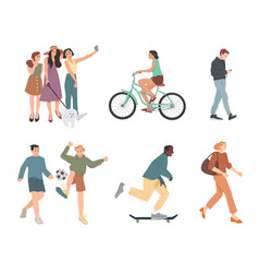 people summer outdoors activities walking vector image