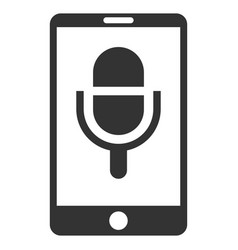 Phone microphone flat icon vector