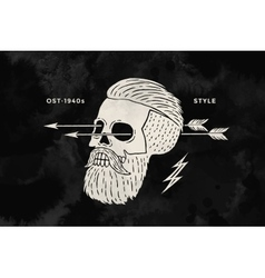 Poster vintage skull hipster label for t-shirt vector