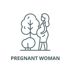 Pregnant woman line icon linear concept vector