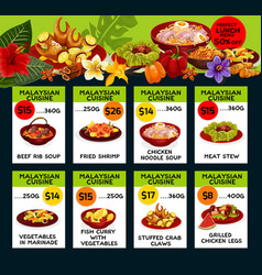 Price menu for malaysian cuisine vector
