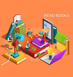 Reading people isometric flat design vector
