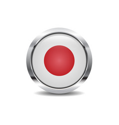 record icon image round 3d button with metal frame vector image