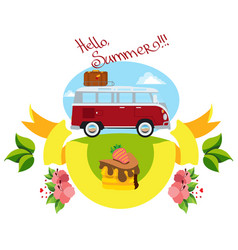Red bus summer travel color vector