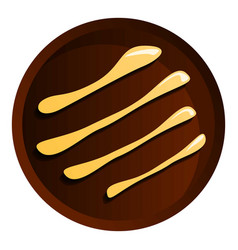 round chocolate biscuit icon cartoon style vector image