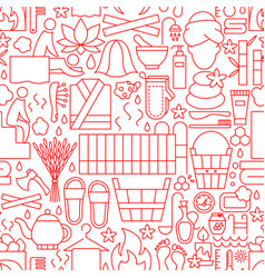 sauna line seamless pattern vector image
