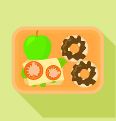 school lunch time icon flat style vector image