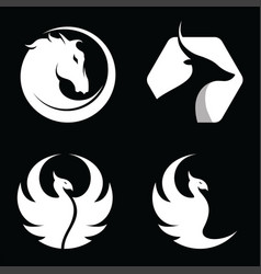 set animal horse antelope phoenix bird logo vector image