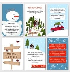 Set of 6 lovely winter cards templates vector