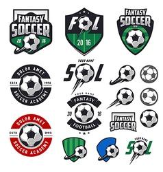 set soccer labels emblems and design elements vector image