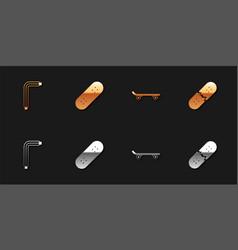 Set tool allen keys skateboard and broken vector