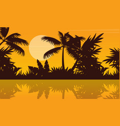 Silhouette of river on jungle scenery vector