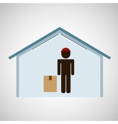 silhouette worker box service vector image