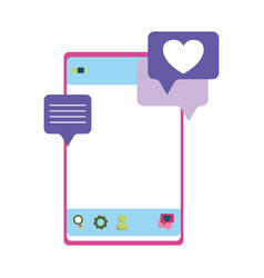 smartphone chatting love heart romantic isolated vector image