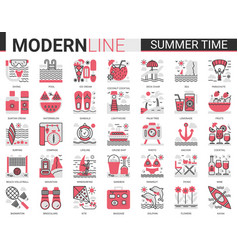 summer time vacation complex red black flat line vector image