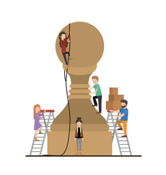 Teamwork mini people doing chess pawn vector