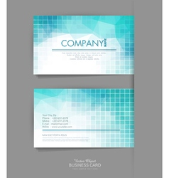 template business card with blue geometric vector image