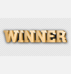 the gold 3d word winner vector image