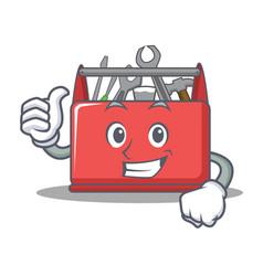 Thumbs up tool box character cartoon vector