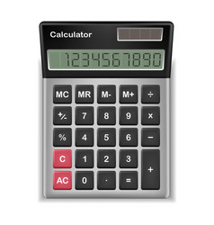 top view real calculator on a white background vector image