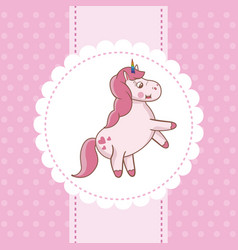 unicorn card pink fairytale decoration vector image