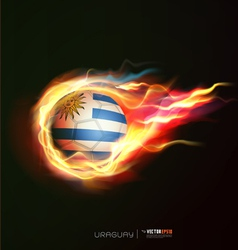Uruguay flag with flying soccer ball on fire vector