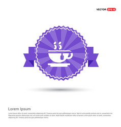 Warm drink icon - purple ribbon banner vector