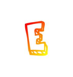 Warm gradient line drawing cartoon letter e vector