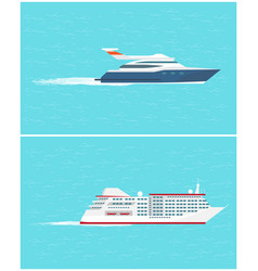 water transport sea trip and cruise liner vector image