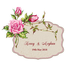 Wedding card with roses vector