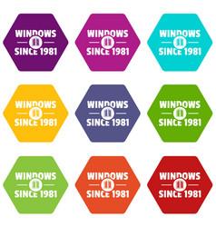 Window icons set 9 vector