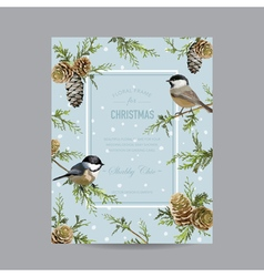 Winter Birds Frame or Card - in Watercolor Style vector