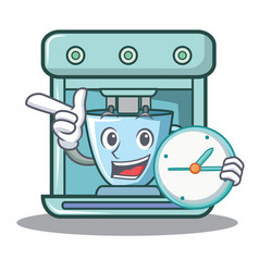 With clock coffee maker character cartoon vector